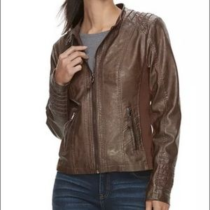Faux Leather Jacket with Hoodie